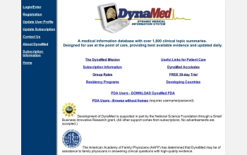 The DynaMed Web site contains summaries of more than 1,800 medical topics.