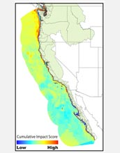 A map showing West Coast ocean areas most affected by humans.