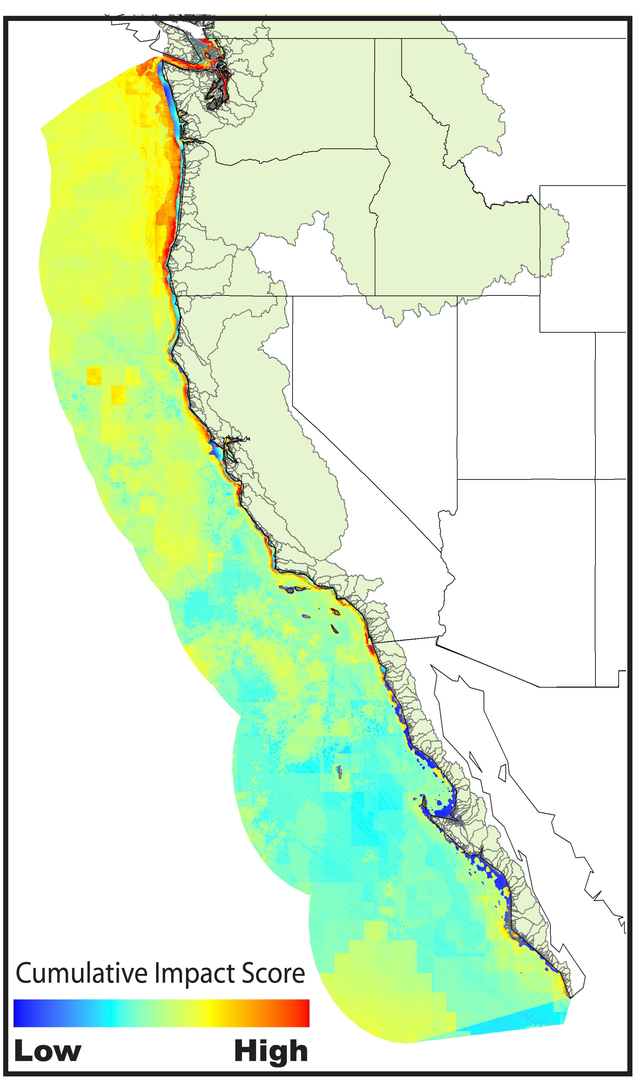 High Human Impact Ocean Areas Along US West Coast Revealed All