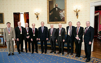 Group of Medal of Science recipients with President Bush and OSTP Director John Marburger