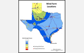 Map of Texas showing wind farm locations as of the year 2010.