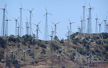 a wind farm in the Tehachapi mountains