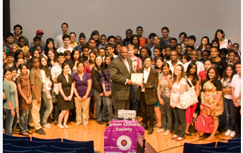 Photo of Sat Bhattacharya with Harlem Children Society 2010 students.