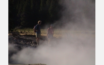 Researchers Jeffrey Walker and Norman Pace in Yellowstone's Norris Geyser Basin.