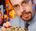 Photo of assistant professor Michael Goodisman holding a section of yellow jacket's nest.