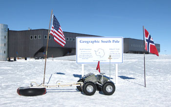 Yeti robot in front of the research building at the South Pole
