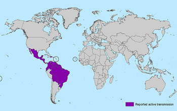 Map showing regions of the world where the Zika virus is currently active, as of Feb. 3, 2016.