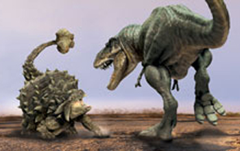 Computer generated image of Tarchia and Tarbosaurus in combat in the Gobi Desert of the Cretaceous period 80 million.