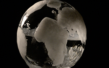 a globe made of ice