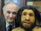 Alan Alda with a model Neanderthal