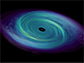 simulated accretion disk swirling around a celestial body