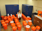 Alicia Taylor surrounded by buckets