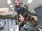 Andrew Feinberg and Lindsay Rizzardi test procedures for purifying blood samples on NASA�s microgravity plane