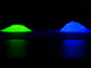 under UV light, the phosphor emits either green-yellow or blue light