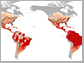 map showing disease transmission of mosquito-borne diseases