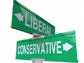 street sign pointing to liberal and conservative