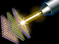 illustration of laser beam triggering quantum movement of electrons