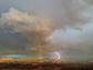 rainbow and lightning over Canyonlands