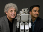 researchers with the humanoid robot