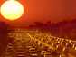 cars in traffic on a highway and a big sun