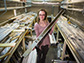 Elizabeth Thomas holds a sediment core