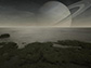 An artist's rendering of the surface of Titan, a moon of Saturn