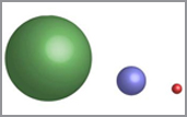 illustration shows sizes of triatomic molecules