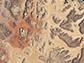 satellite image of the Wadi Rum desert and irrigated farmland in Jordan