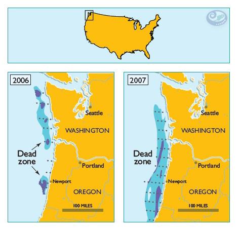Expansão das zonas mortas no estado do Oregon, EUA
