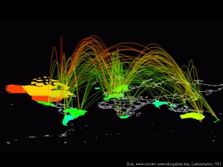 Arc Map showing world-wide Internet traffic by Stephen Eick World Map Traffic on world airspace map, world drought map, world terrain map, world wind map, world weather map, world radar map, world land use map, world transport map, world pollution map, world drug map, world seismic map, world rail map, world gravity map, world railway map, world crime map, world flight map, world climate map, world heat map, world snowfall map, world road map,