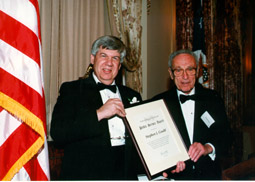 Stephen J. Gould, 1999 Recipient and  David Perlman, Chair, NSB Public Service Award Advisory Committee