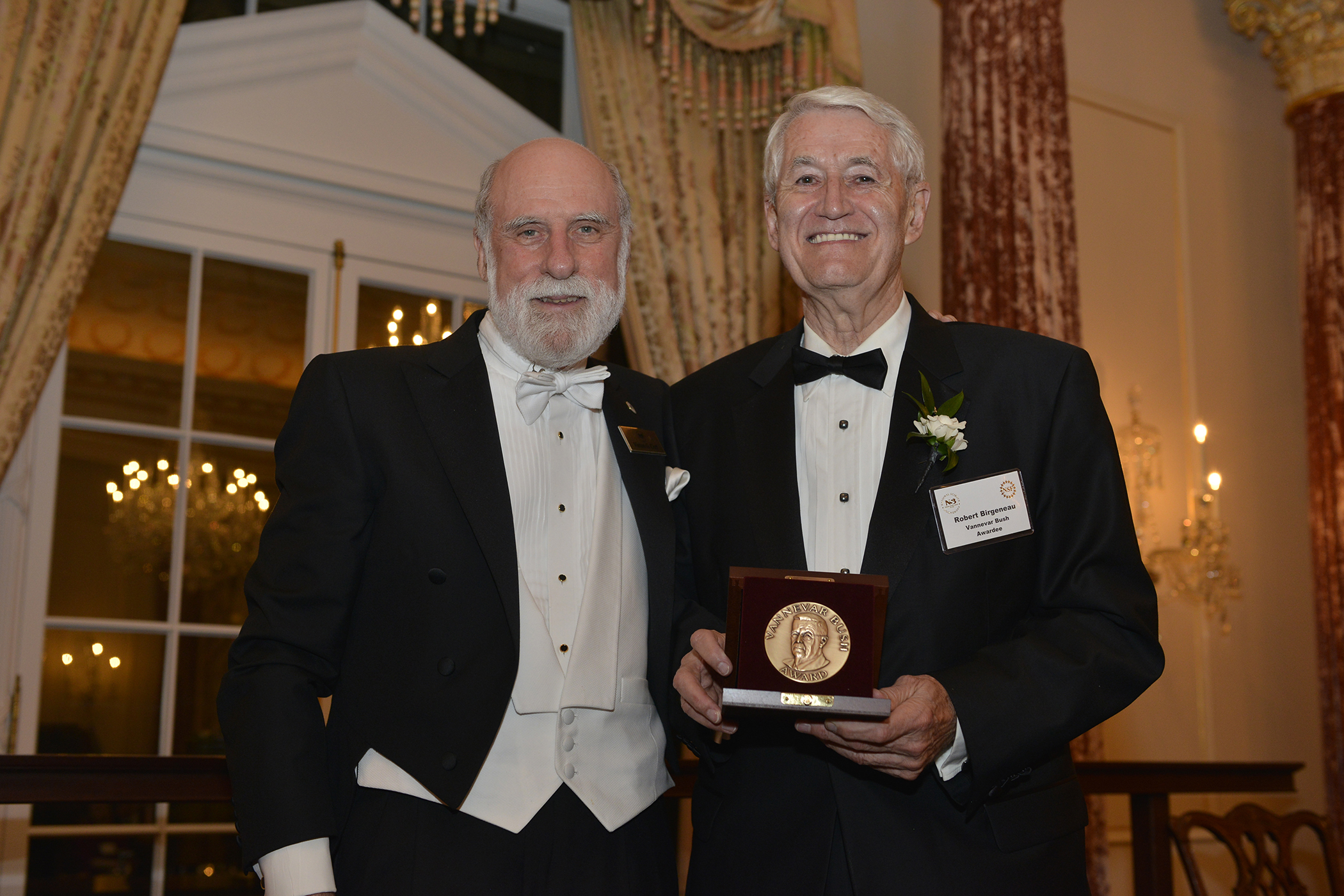 Image of Birgeneau and Cerf with Award Metal