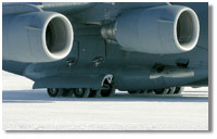 The wheels of a U.S. Air Force C-17