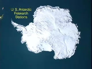 Map of Antarctica with text-U.S. Antarctic Research Stations