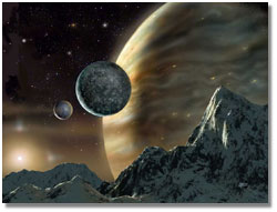 image of a possible scene from a moon orbiting the extra-solar planet
